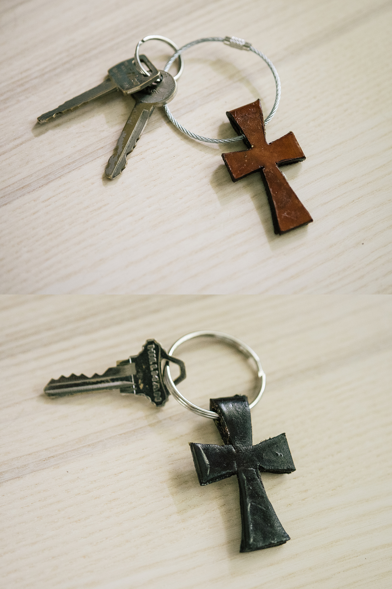 Leather Western Cross Keychain
