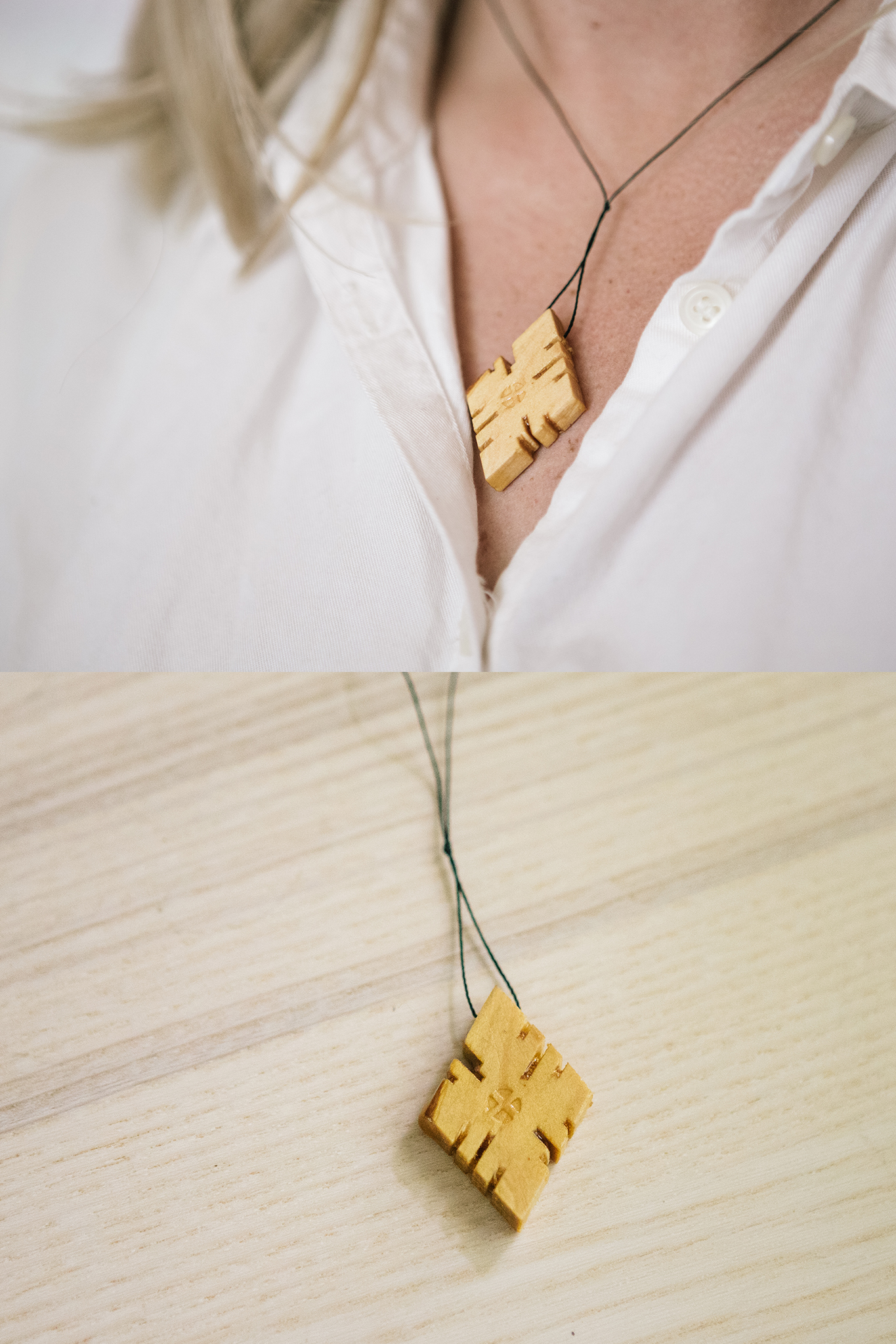 Wooden Ethiopian Cross Necklace