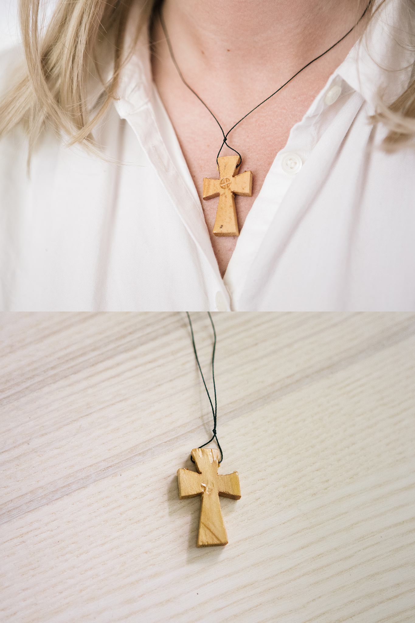 Wooden Western Cross Necklace